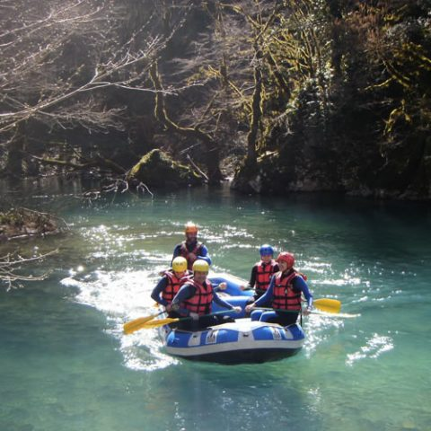 rafting in voidomatis river, one of the most clear rivers in europe