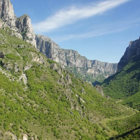 vikos gorge at the geopark of vikos-aoos