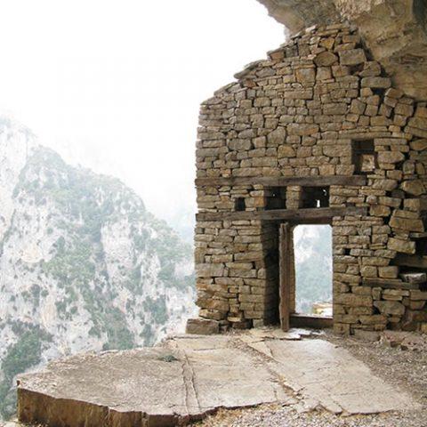 agia paraskeue monastery in monodendri village, overseeing vikos gorge