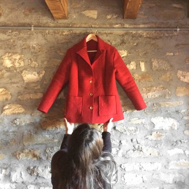 women's jacket in red felt