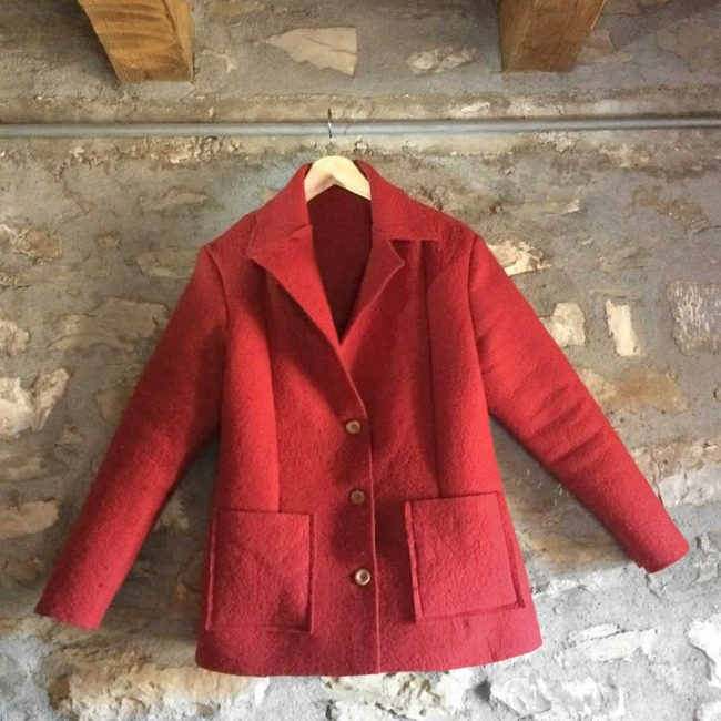 women's jacket in red handmade felt