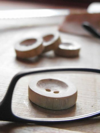 handmade wooden buttons for the felt jacket, made of dogberry bush wood