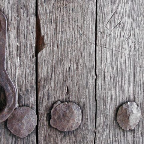 zagorohoria, old wooden door at agia paraskeue monastery in monodendri