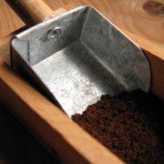 handmade coffee scoop, scooping the grains