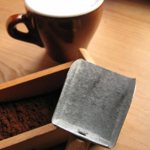 handmade coffee scoop from galvanized recycled metal sheet and wood