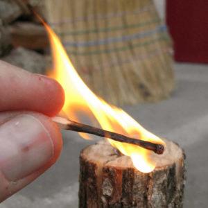 swedish fire torch, lit