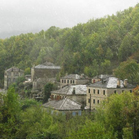 summer rainfall in dilopho village in central zagori