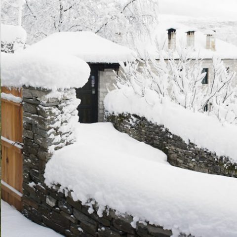 snow has covered everything this year in zagori, white is the colour!