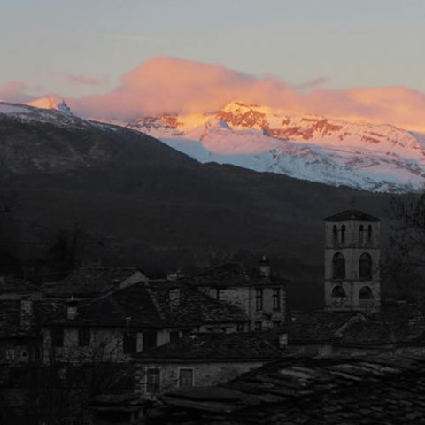 sunset in zagorochoria during winter