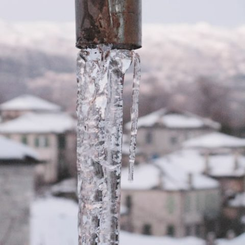 ice stalactite in zagori after a long period of sub-zero temperatures