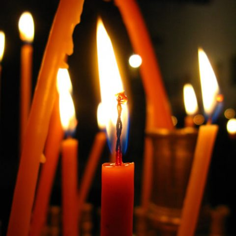 candles in a church during orthodox easter in zagorohoria