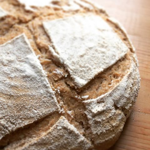 homemade sourdough bread traditionally made in a wood fired oven