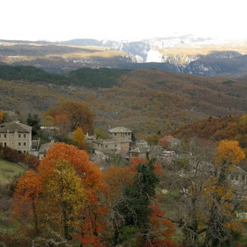 elate village surrounded by colourful trees during foliage in zagorochoria