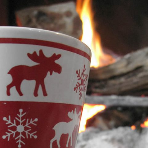 warm coffee by the fireplace, winter in zagori