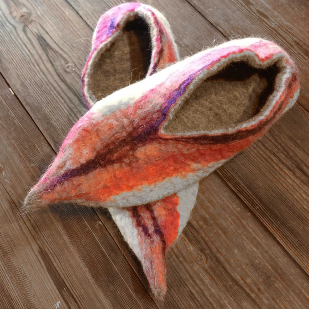 colourful felt slippers