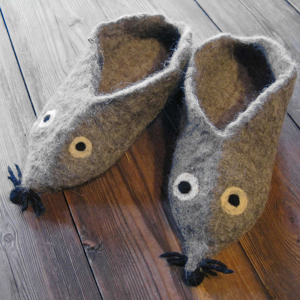 grey felt mouse slippers