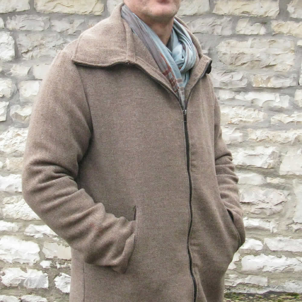 Men's jacket from an old recycled blanket