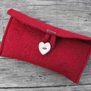 red felt wallet