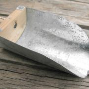 handmade scoop made from oak wood and reclaimed galvanized metal sheet