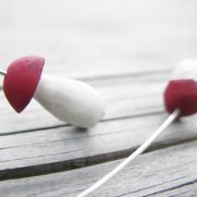 Handmade porcini earrings made from dogberry wood and silver with cap painted in vibrant ruby red